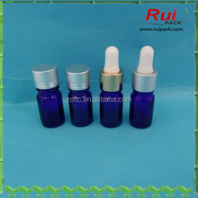 5ml blue perfume glass bottle with esstial oil dropper cap,facial essence cosmtic glass bottle
