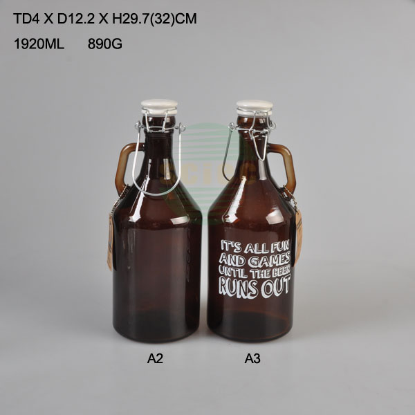 Amber glass beer bottle with clip lid