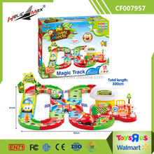Children cartoon electric rail cars assembled orbit model toys DIY toys with light music
