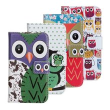 New product phone case owl cute pouch stand leather cover for iphone 4 4s