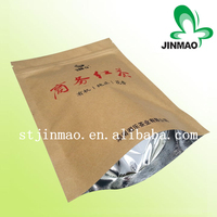 Moisture barrier aluminum stand up kraft paper empty pouch for tea packaging