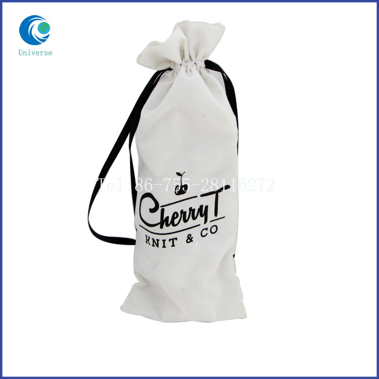 Most popular custom logo suede wine bag with high quality