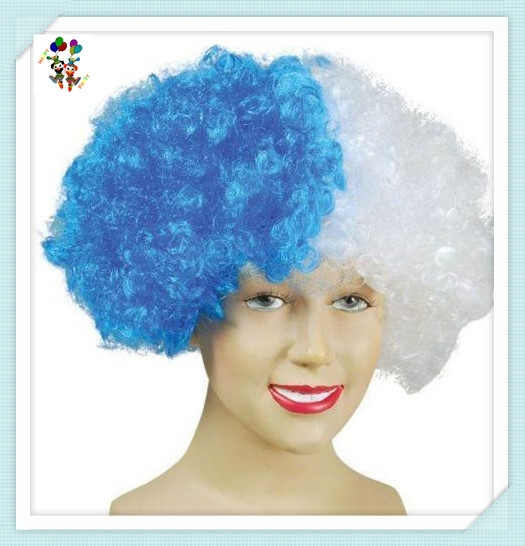 Crazy Party Blue and White Cheap Afro Football Fan Wigs HPC-1252