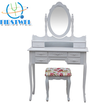 Vanity french antique dressing table with mirror and stool
