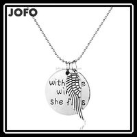 With Brave Wings She Flies Silver Tone Round Angel Wing Pendant Necklace SALE!