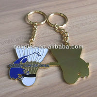 Badmiton design stamped metal key chain