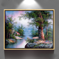 handmade home decor wall art forest scenery oil painting on canvas