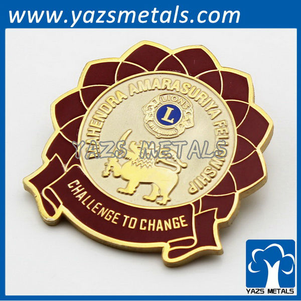 lion club metal engrave Collar Pin Badge