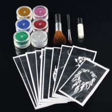 2016 New 10 Colors Temporary Shimmer Glitter Tattoo Kit for Body Art Design Paint with Stencil Glue and Brushes