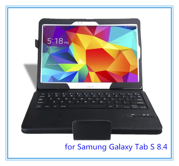 8.4 '' Black Wireless Bluetooth Keyboard Stand Leather Case Cover for Samsung Galaxy Tab S 8.4