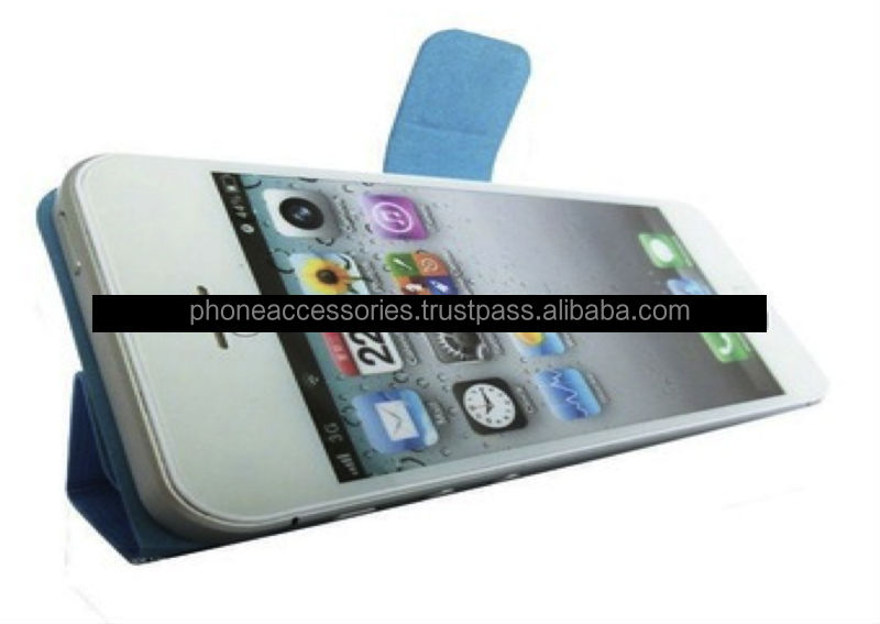 Horizontal stand design Stylish leather case for iPhone 6, iPhone 5 and iPhone 4 and for Samsung S5 and Note 3