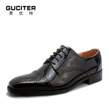 Goodyear handmade shoes men's leather coat of paint high-end custom block of carve patterns men's shoes leather business suits