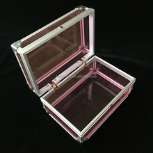 Custom Plexiglass Acrylic Aluminum Cosmetic Makeup Organizer Clear Box Cases Pink