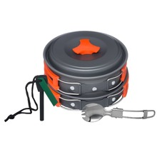 new2016NEW COLORFUL orange hot sale cookware comping kit lightweight camping cookware for pinic csurvival gear backpack tactical