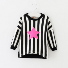 W92121A 2015 winter new fashion design korea children t-shirt kids girls striped long sleeve t-shirt