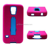 PC + Silicone combo robot hybird kickstand case for Samsung galaxy S III mini i8190