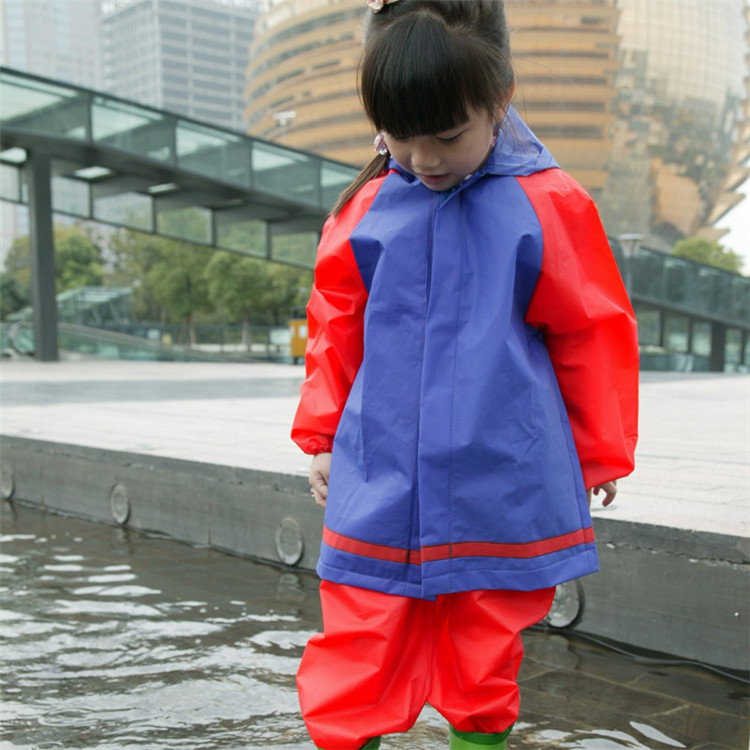 High Quality Lovely Function Waterproof Two Pieces EVA raincoat kids printing logo With hood