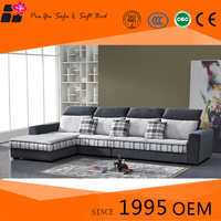 Fabric l-shape corner wood sofa for living room with headrest