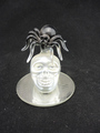 Hand blown glass halloween decoration with skull design