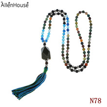 2014 Fashion indian agate gems necklace with Multifaceted raw natural stone pendant