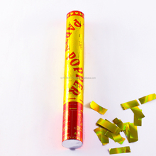 High Quality gold confetti party popper with golden metallic foil rectangle