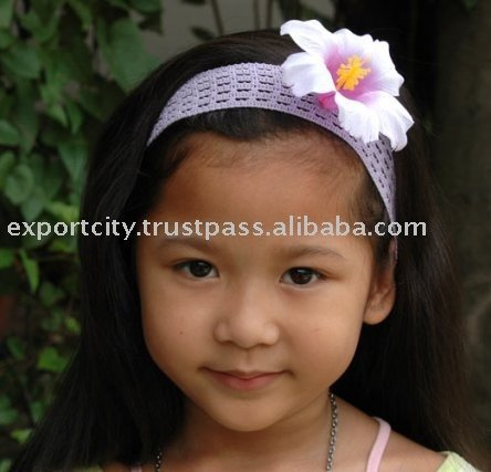 Children and girls headband hair band (purple hibiscus)