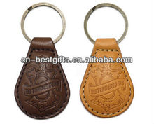 2015 embossed logo PU leather keychains