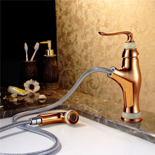 Luxury gold faucet basin,pull out bathroom basin faucet,marble brass wash basin faucet
