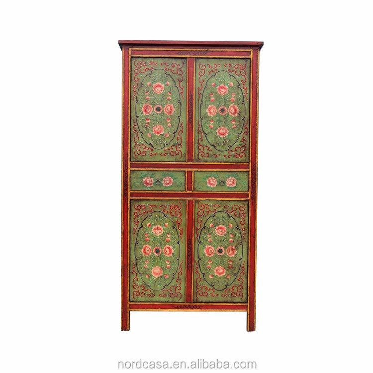 wholesale antique reproduction hand painted wooden drawer tibetan furniture