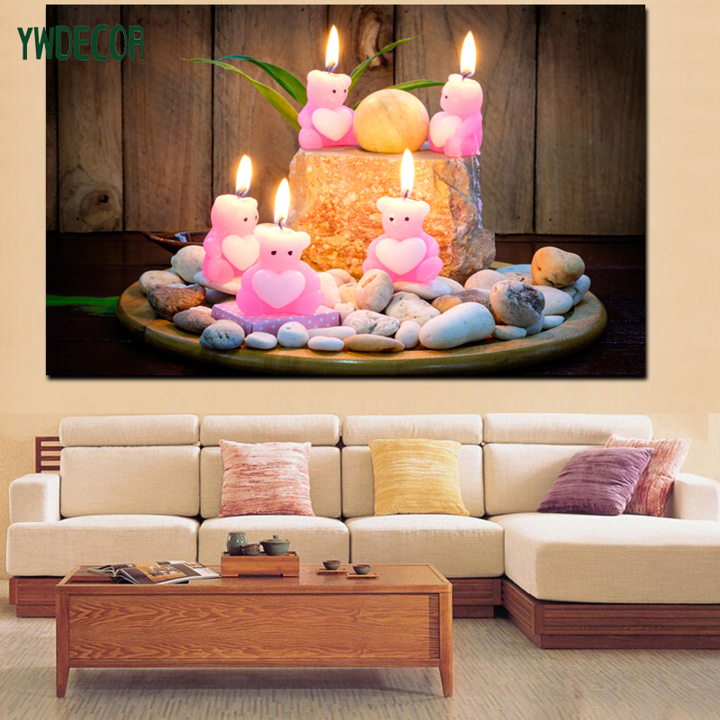Factory Price Pink Bear Candle On LED Light Painting Wholesale Wall Art Canvas Frame Painting Decorating