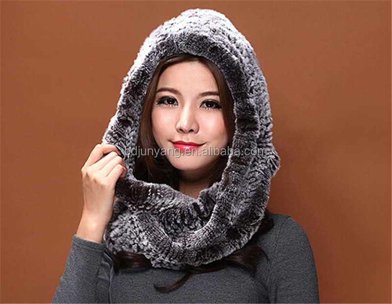 Trendy real rex rabbit fur knitted scarf hood