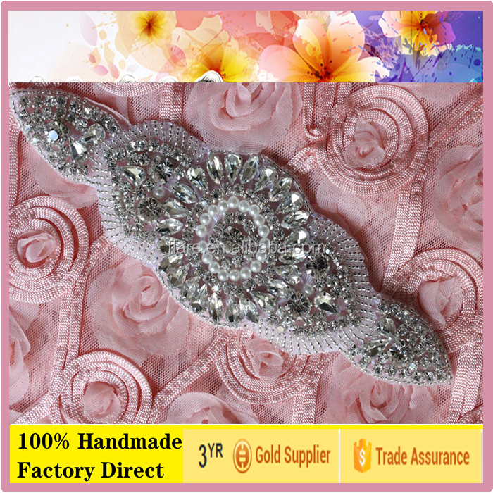 HOT bling wedding dress sash rhinestone applique Bodice Crystal Applique Trimming Bridal Applique Guanzhou for lady dress