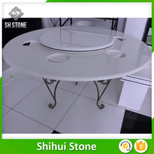 prefabricated white quartz stone top dining tables for kitchen