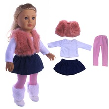 4 pcs one set doll clothing winter coat and dress for 18 inch or 43 cm new born baby dolls