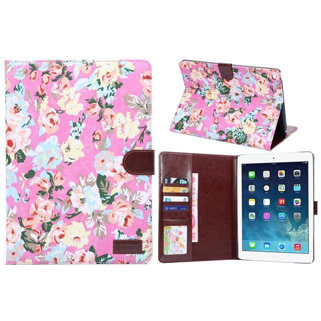 Flowers fabric leather case for Apple ipad air 2
