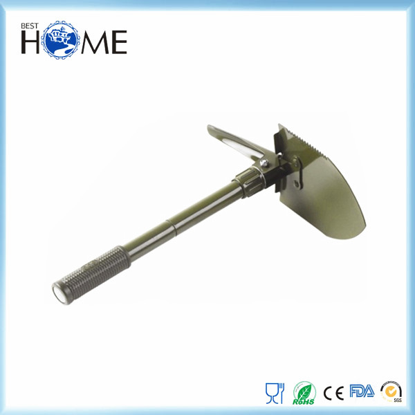 Different types of folding camping shovel with saw and pickaxe