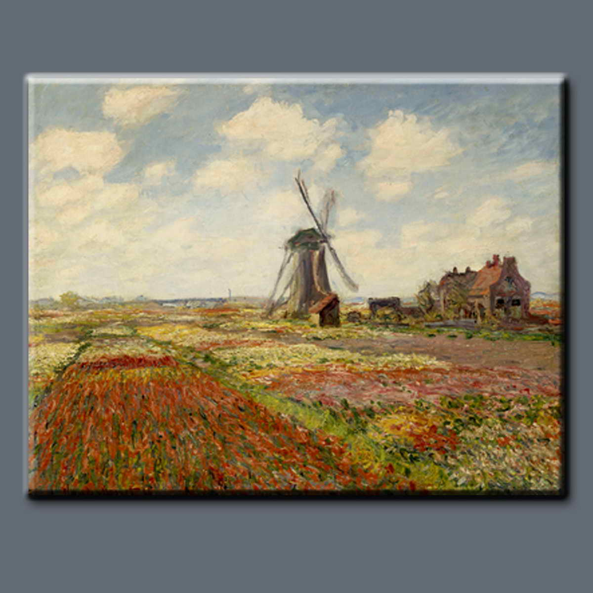 Handpainted Tulip Fields Holland landscape Famous Claude Monet Oil Painting with frame