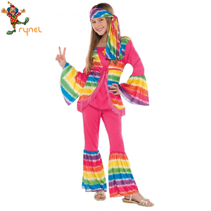 PGCC5625 Custom Rainbow Color Kids Girls Hippie Costume 60s 70s Halloween Party Fancy Dress Costume