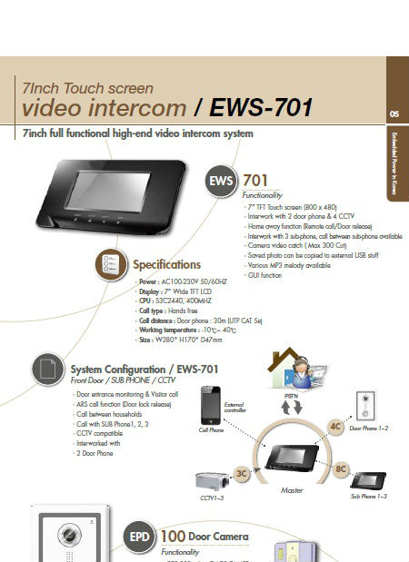 "Video door phone 7"" TFT Touch, Interwork with Smart Phone"