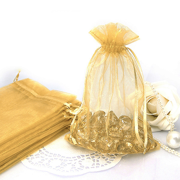 Wedding or Promotion Gift Package Cheap Popular Deep Gold Organza Bag