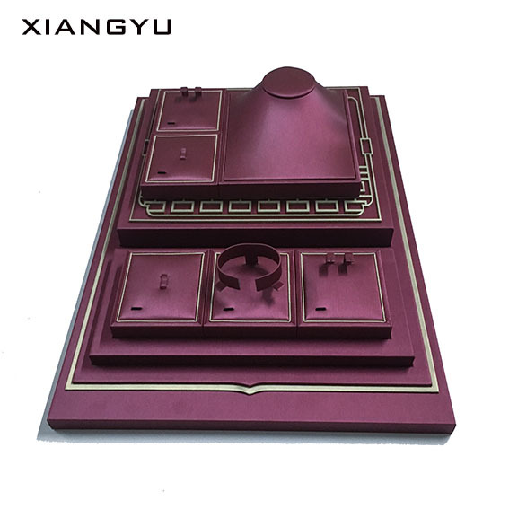 High-grade brushed texture PU leather jewelry display props