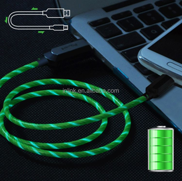 glow in dark phone chargers that light up cable for samsung mobile phone