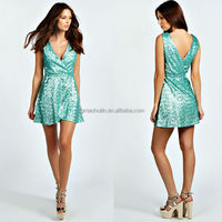 dongguan manufacturer ladies wrap skater loose sequin dress