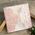 Blush Pink Laser Cut Bridal Shower Invitations