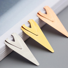 Hot sale triangle 1.0cm*2.5cm mini metal paper bookmark for office