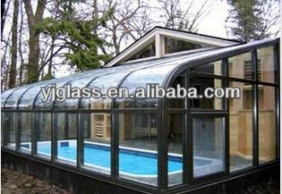 8-12mm colored curved tempered glass for sunroom