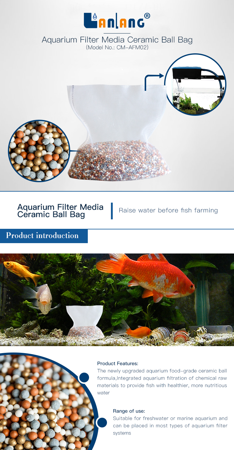 aquarium led lighting filter media ceramic ball bag maifan stone for fish tank water treatment