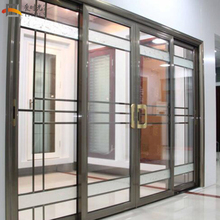 China quality supplier decorative sliding door grills 4 panel sliding glass exterior wall slide door