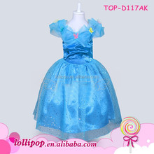 Lovely girl aqua wholesale cotton baby cinderella dresses for girls