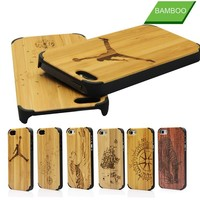 Custom wood back cover for apple iphone 5s wooden case